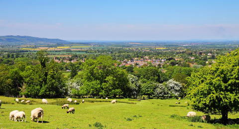 Platteland in the Cotswolds, Engeland